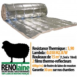 RENOlaine - 100% Laine de Mouton - Isolation thermique professionelle - 15m2